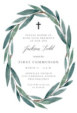 Modern Leaves - First Holy Communion Invitation