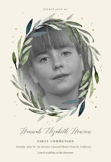 Olive leaves wreath - Invitación De Comunión
