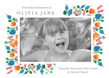 Pink Leaves - First Holy Communion Invitation