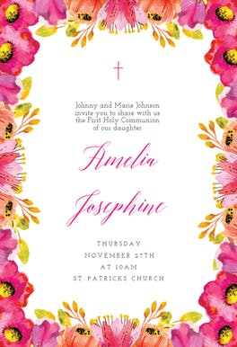 Scarlet - First Holy Communion Invitation
