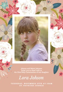 Vivid floral - First Holy Communion Invitation