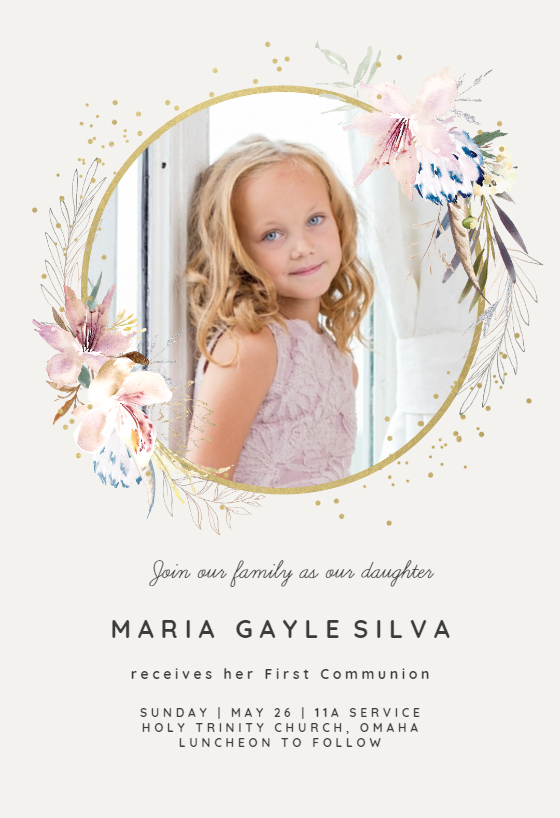 graphic regarding First Holy Communion Cards Printable Free referred to as To start with Holy Communion Invitation Templates (Free of charge) Greetings