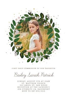 White Bloom - First Communion Invitation