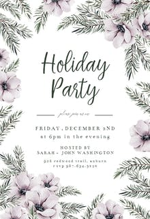 Flower and Pines - Holidays Invitation