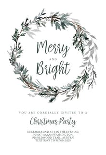 Frost bound Wreath - Holidays Invitation
