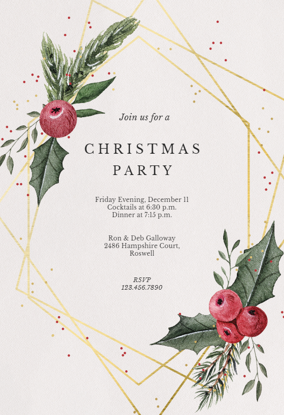 image relating to Printable Christmas Invitations known as Xmas Get together Invitation Templates (Free of charge) Greetings Island