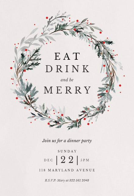 Christmas Invitations Free Template.Holiday Wreath Christmas Invitation Template Free