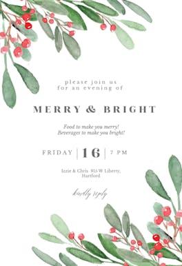 Holidays greenery - Christmas Invitation