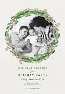 Holly wreath - Christmas Invitation