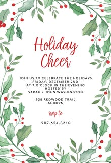 leaf holly border holidays invitation