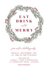 Pine Wreath - Christmas Invitation