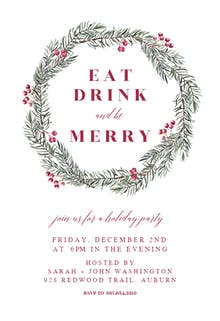 Pine Wreath - Holidays Invitation