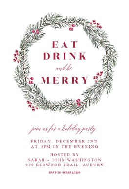 Pine Wreath - Christmas Invitation