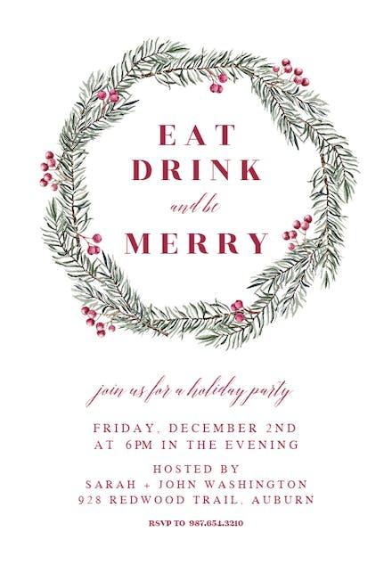 Pine Wreath - Christmas Invitation Template (Free ...