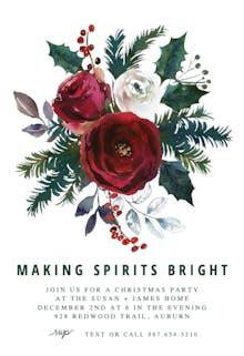Red Bordo Bouquet - Christmas Invitation