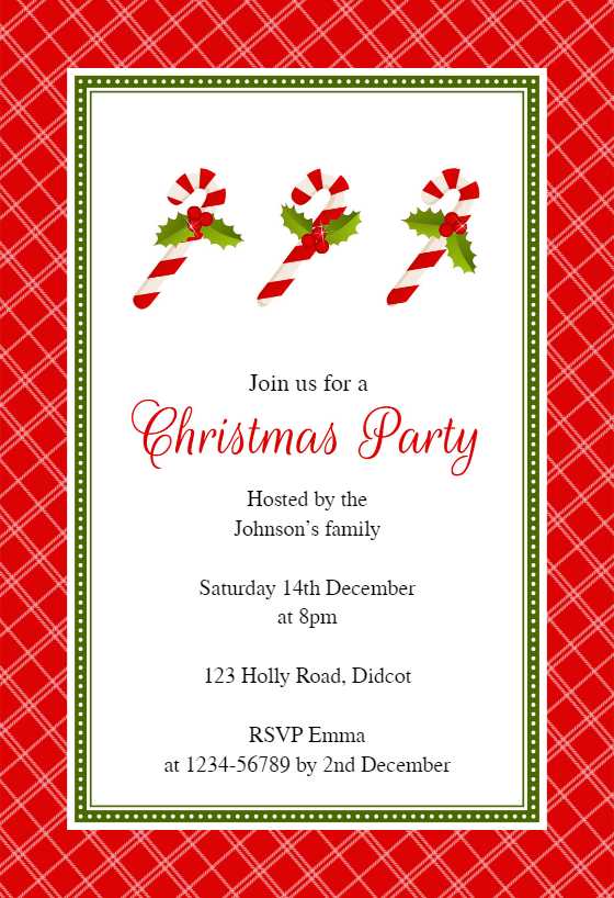 Red Checkered Frame Christmas Invitation Template Free