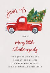 Red truck - Christmas Invitation