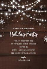 Rustic lights & snow - Christmas Invitation