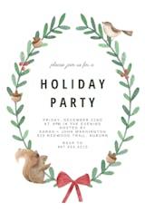 Squirrel and Bird Wreath - Christmas Invitation
