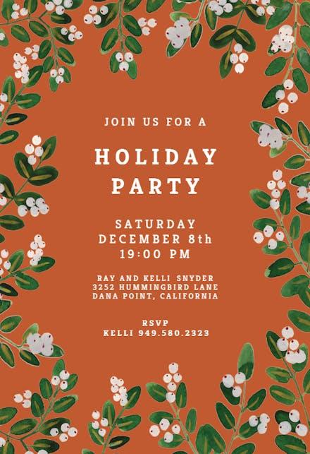 White Bloom Christmas Invitation