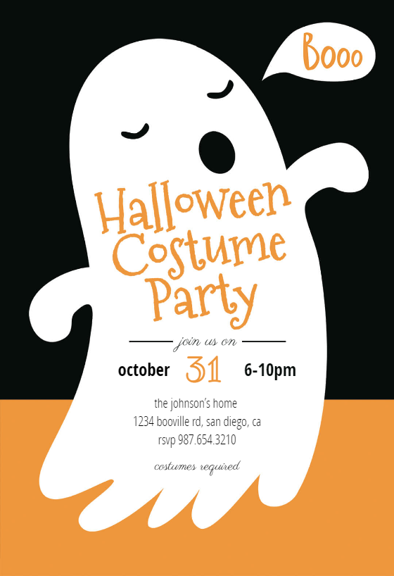 Boos Halloween Party Invitation Template Free