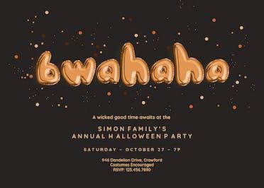 Bwahaha Balloons - Halloween Party Invitation