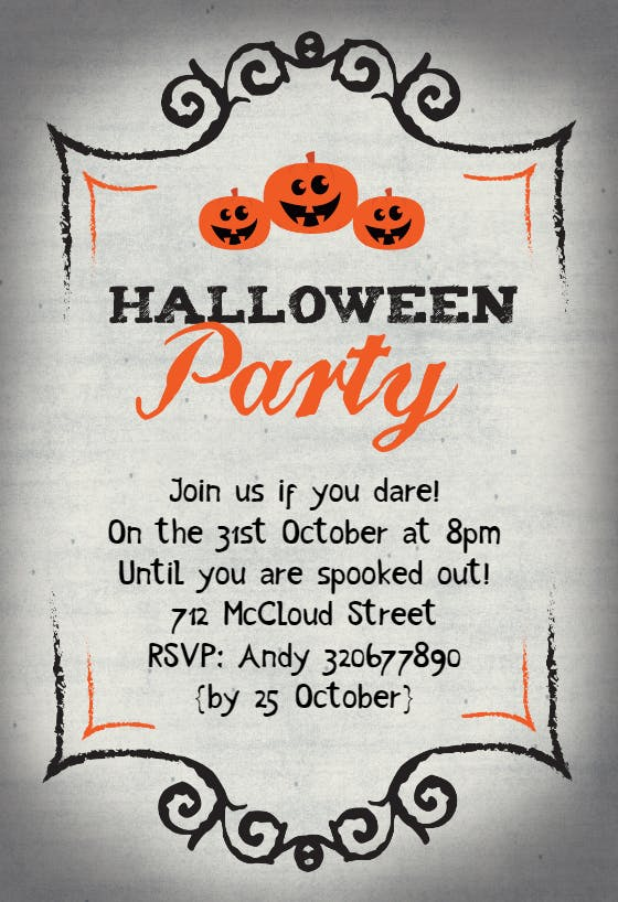 Bash Halloween greeting card Virtual Halloween party invitation.Halloween birthday party invitation.Ghost halloween party invitation
