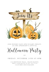 Pumpkin And Sign - Halloween Party Invitation