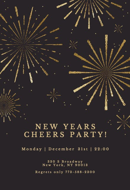 New Year S Eve Invitation Templates Free Greetings Island