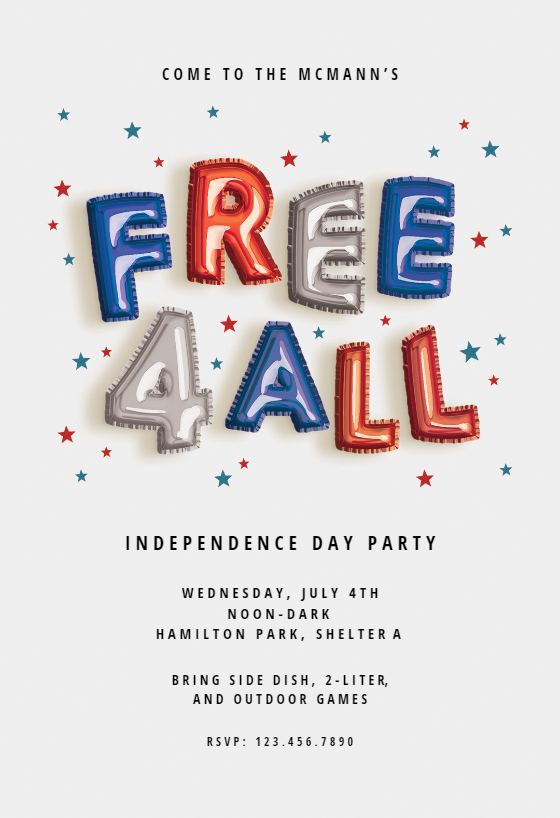 graphic relating to Free Printable Patriotic Invitations identified as 4th Of July Invitation Templates (Free of charge) Greetings Island
