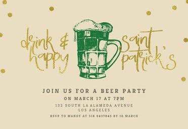 Drink and happy - Invitación Para El Día De San Patricio