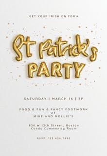 Lucky Balloons - St Patricks day Invitation