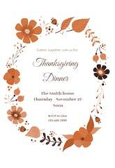 Autumn wreath - Thanksgiving Invitation Template