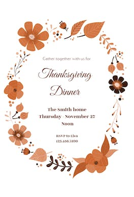autumn wreath free thanksgiving invitation template greetings island