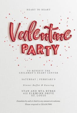 Balloons 'n' Love - Valentine's Day Invitation