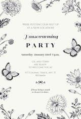 Butterfly Garden - Invitación Para Inauguración De Casa Nueva