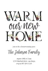 Floral Letters - Housewarming Invitation