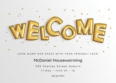 Homing Balloons - Housewarming Invitation