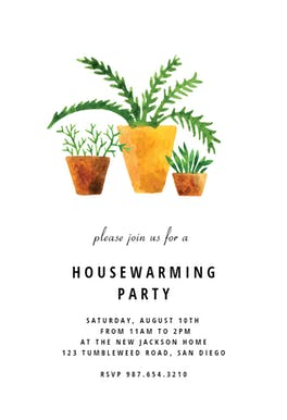 House Plants - Housewarming Invitation