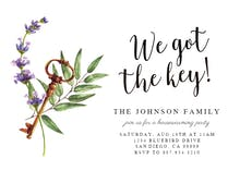 Purple Flowers Key - Housewarming Invitation