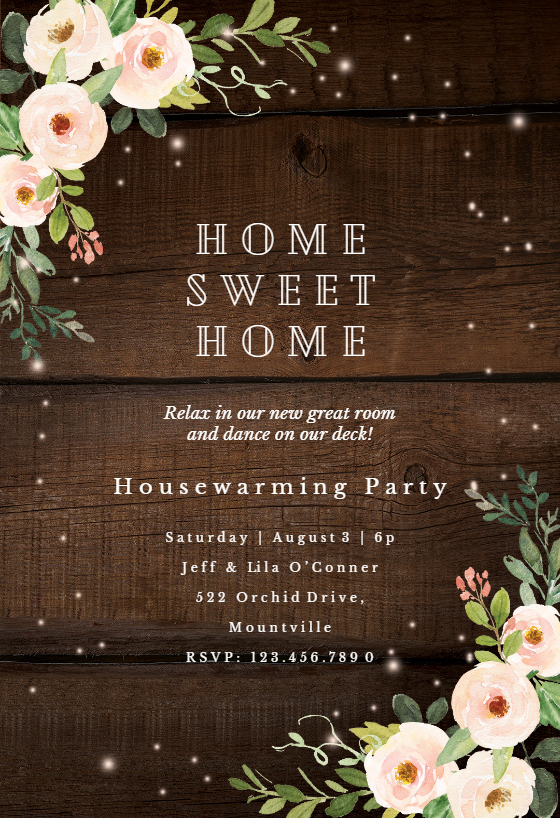 Sparkling rustic floral Housewarming Invitation Template