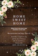 Sparkling rustic floral - Housewarming Invitation