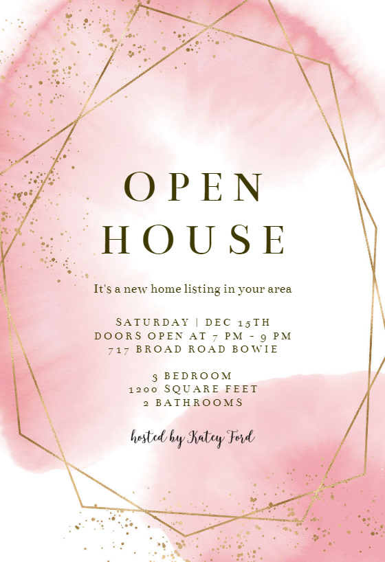 gold polygon open house invitation template free. Black Bedroom Furniture Sets. Home Design Ideas