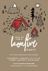 Firelight Bonfire Fun - Printable Party Invitation