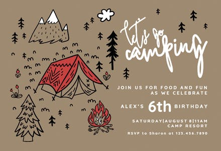 Camping Tent - Printable Party Invitation Template (Free