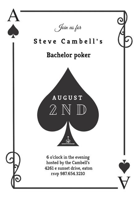 Ace Of Spades - Bachelor Party Invitation