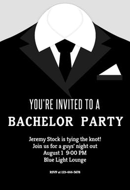 Tying The Knot - Bachelor Party Invitation Template