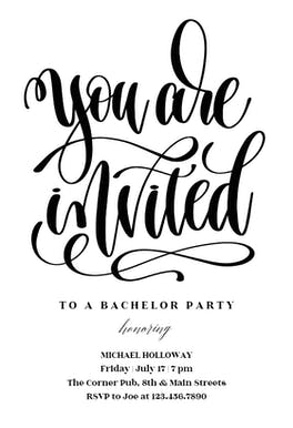 You Are Invited - Bachelor Party Invitation