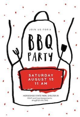 Apron - BBQ Party Invitation