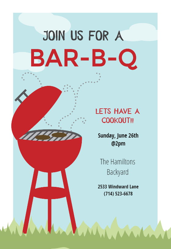 Bbq Cookout Bbq Party Invitation Template Free